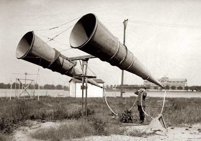 Before radar was developed, acoustic horns like at Bolling Field in Washington D.C. were used to detect the sound of approaching enemy aircraft.