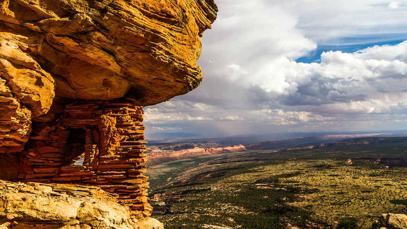 A prehistoric granary in Bears Ears National Monument overlooking Cedar Mesa
