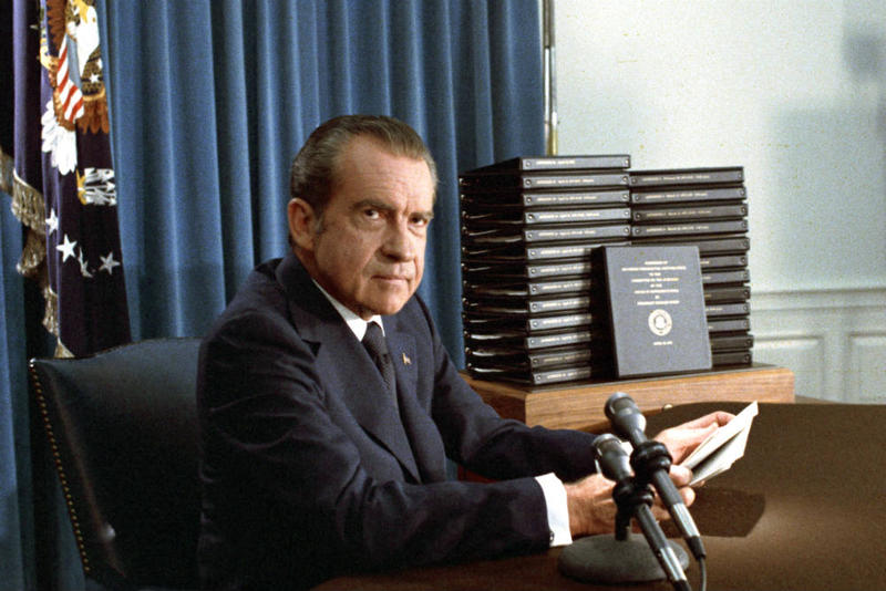 President Nixon, with edited transcripts of Nixon White House Tape conversations during broadcast of his address to the Nation.