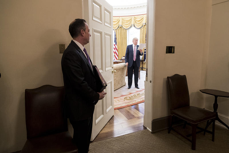 Former White House Chief of Staff Reince Priebus stands outside the Oval Office.
