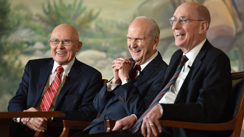 President Russell M. Nelson (center) and his two counselors in the First Presidency, President Dallin H. Oaks (left) and President Henry B. Eyring (right), address members of the media during a news conference on January 16, 2018.