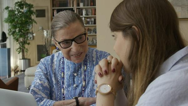 U.S. Supreme Court Justice Ruth Bader Ginsburg talks to her granddaughter Clara Spera in RBG, directed by Betsy West and Julie Cohen.