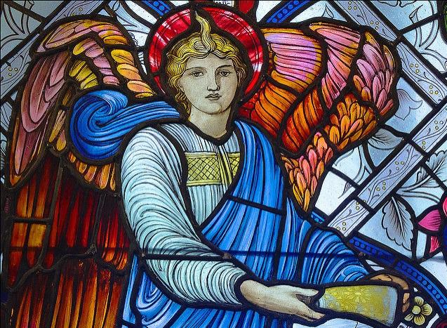 Stained glass window with angel.