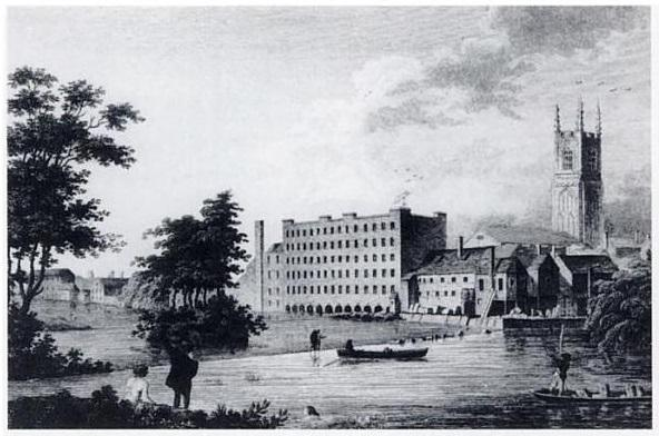 Black and white print of world's first factory.