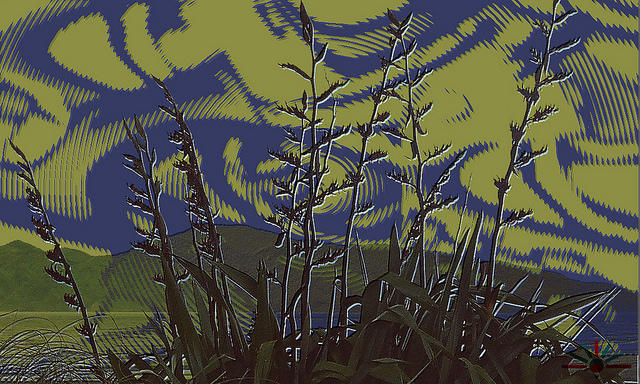 Psychedelic flax landscape.