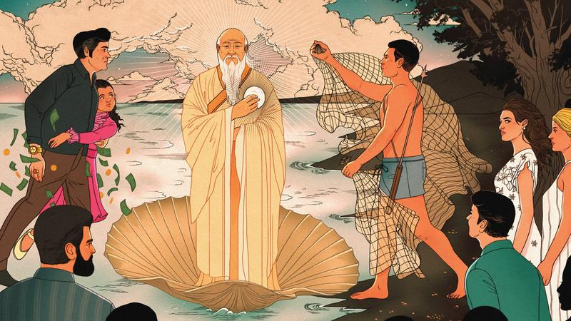Painting in Asian style depicting Lao Tzue and the discovery of a giant pearl.