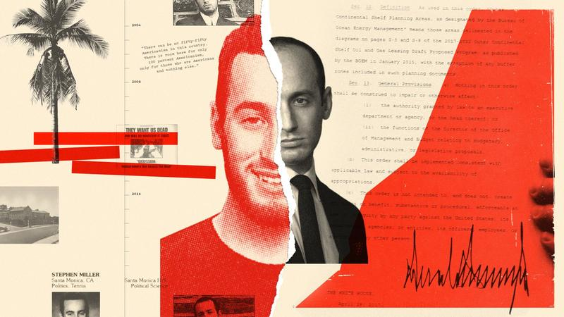 Collage, pictures of Stephen Miller and examples of his statements