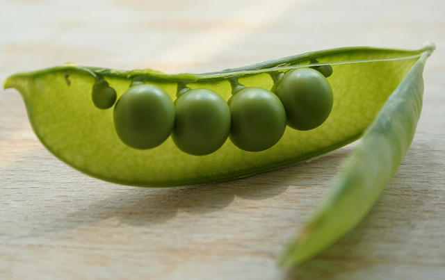 Open pea pod showing four peas.