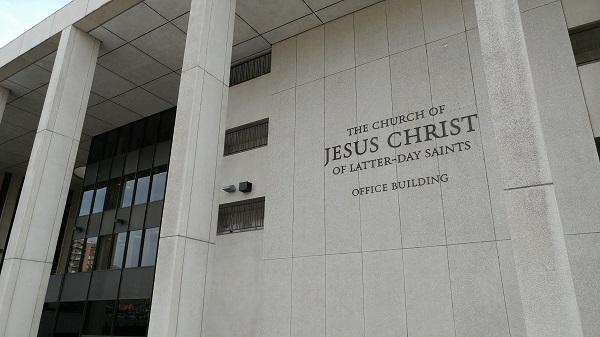 Office building with sign The Church of Jesus Christ of Latter-day Saints