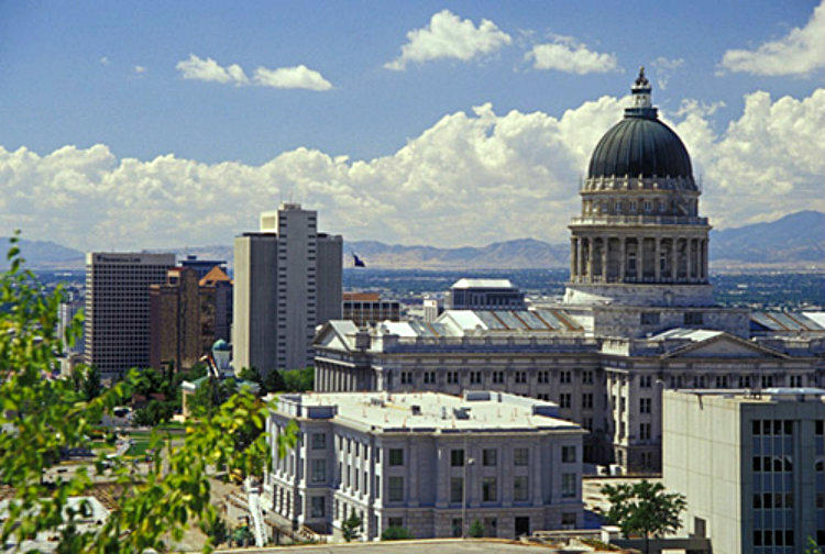 The Church of Jesus Christ of Latter-day Saints - Church Office Building and the Utah State Capitol