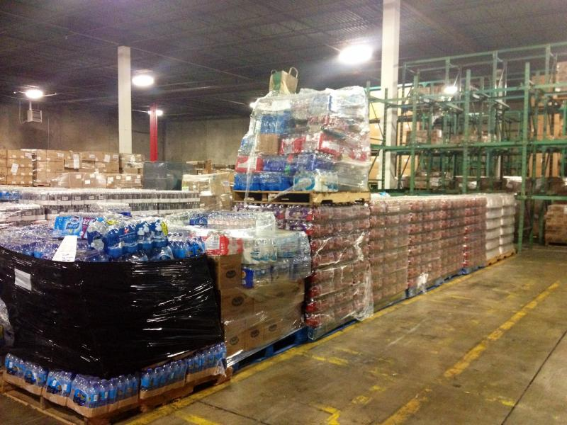 Pallets of water fill one of Feed the Children's Oklahoma City warehouses.