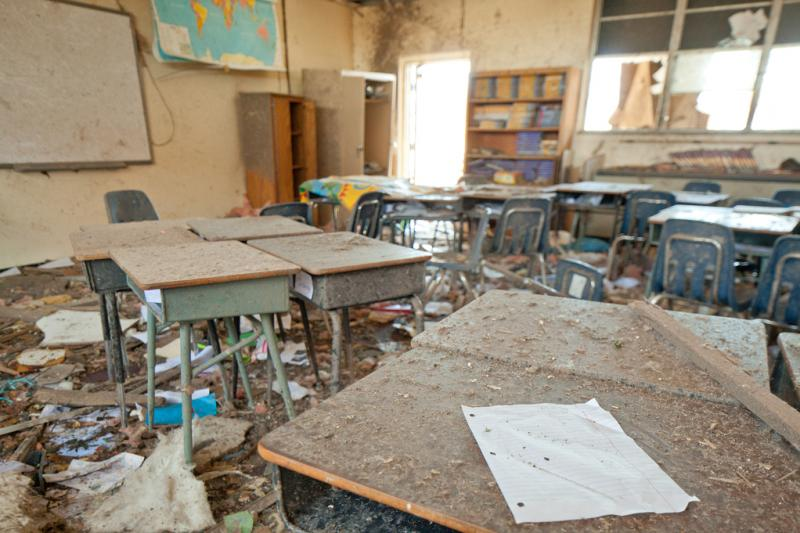 Tornado damaged classroom in the Plaza Towers Elementary school in Moore, Oklahoma. An F5 tornado struck the area on May 20th, causing widespread destruction.