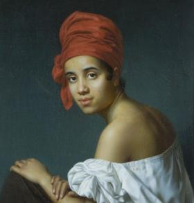 Creole in a Red Headdress, Jacques Guillaume Lucien Amans, circa 1840