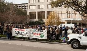 Protestors swarm the Houston offices of TransCanada Monday in protest of the Keystone XL pipeline.