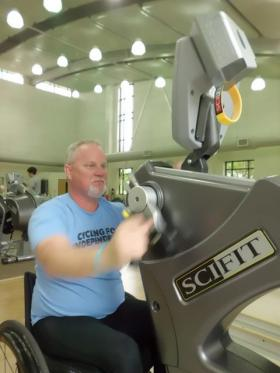 Scott Wells trains at the LSU Health Shreveport School of Allied Health Rehabilitation Clinic three days a week to prepare for his 180-mile handcycle journey.