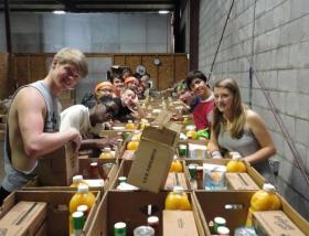 Freshmen from Louisiana College volunteer at the Food Bank of Central Louisiana.