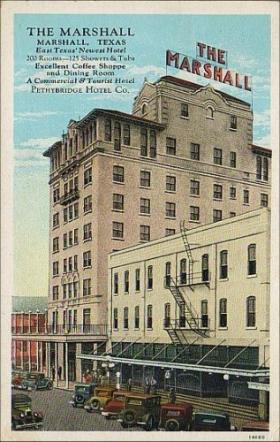 A postcard from 1934 hails The Marshall hotel.