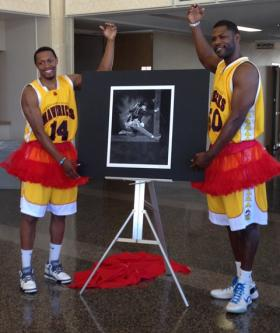 "Ed Horton (left) and Alex ""Ticket"" Sanders of the Shreveport-Bossier Mavericks unveil the first in a series of photos titled ""How do you tutu?"" The photo is of Moonbot Studios co-founder Brandon Oldenburg by photographer Neil Johnson."