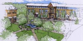 The rendering of the Fort Polk Warrior Plaza Area Development plan promotes sustainable design principles.