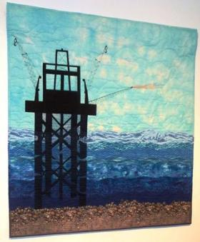 "Kay Marburger created the ""Sentinel of the Gulf"" quilt for her son who works on oil rigs in the Gulf of Mexico. It's one of the quilts on display in Nacogdoches."