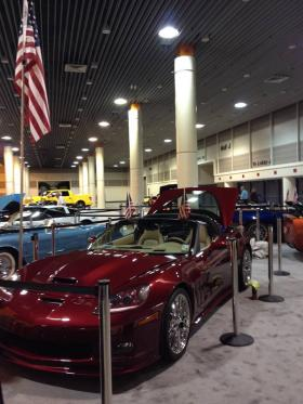A view from the convention hall at this year's New Orleans International Auto Show. The Crescent City Corvette Club is celebrating its 50th anniversary.