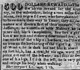 This ad, placed by a Shreveport slave owner, was published in the Telegraph and Texas Register in 1838.