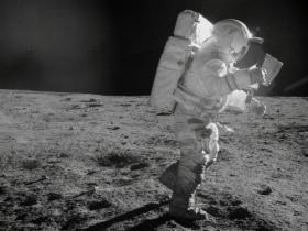 Astronaut Edgar Mitchell traverses the moon during the Apollo 14 mission in 1971.