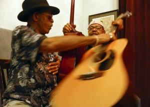 Blues guitarist Rudy Richard (left) jamming with Larry Garner in Baton Rouge.