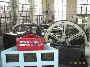 At the heart of the 1921 pump house are two crank-and-flywheel high service engines.