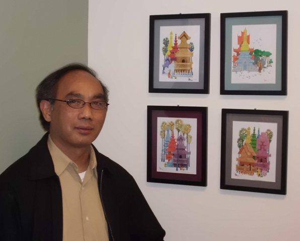 Dr. Myo Chet, a Nacogdoches pediatrician, has Burmese artwork hanging in his office.