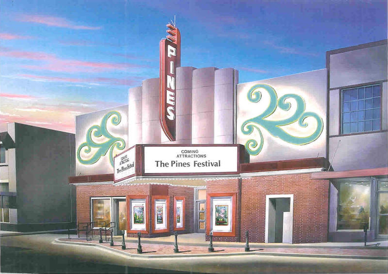 This architectural rendering shows the Pines Theater after the restoration is complete.