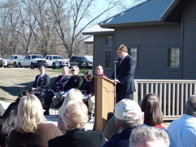 U.S. Rep. John Fleming (R-Shreveport) speaks at the ribbon cutting ceremony for the Red River National Wildlife Refuge's $3.8 million visitor and education center.