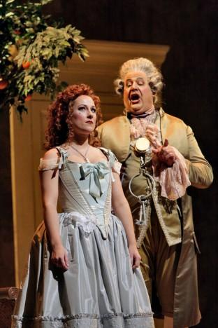 "Diana Damrau as Rosina and John Del Carlo as Dr. Bartolo in Rossini's ""Il Barbiere di Siviglia."""