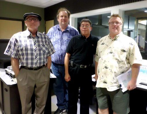Bobby Darrow, Kermit Poling, Dr. Gerardo Negron, and Brett Malone in the Noel Foundation studio