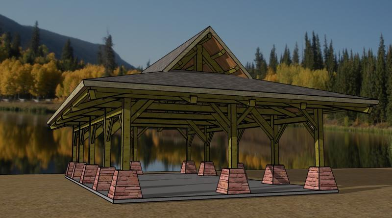 This rendering of a park pavilion on Lake Naconiche will be built by the Timber Framers Guild during a nine-day workshop in March.