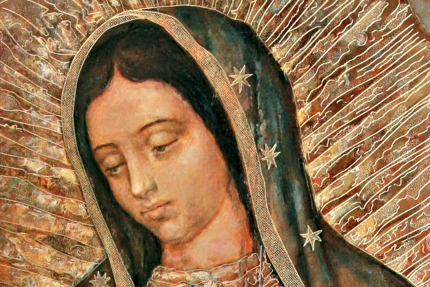 Detail from a painting of Our Lady of Guadalupe shown in the Basilica of Our Lady of Guadalupe, in México City. The feast of Our Lady of Guadalupe, patroness of the Americas, is Dec. 12.