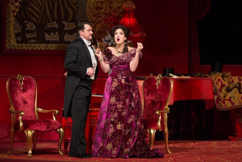 Susanna Phillips as Rosalinde and Paulo Szot as Dr Falke in Johann Strauss Jr's Die Fledermaus