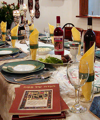 A table set up for a Passover seder