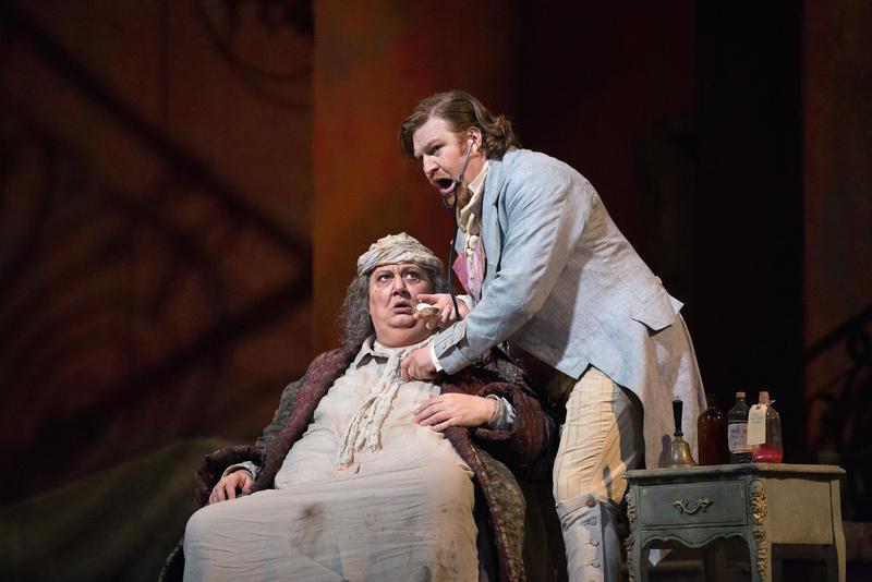 Ambrogio Maestri in the title role and Levente Molnár as Dr. Malatesta in Donizetti's Don Pasquale