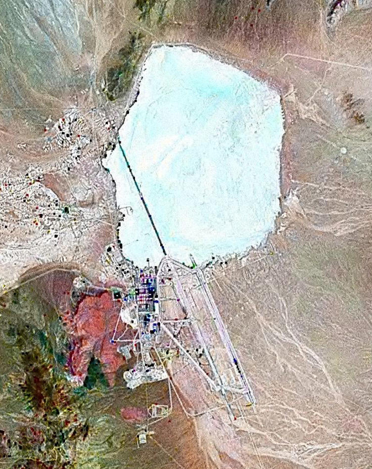 Landsat geocover 2000 pseudocolour imagery of Area   51 at Groom Lake, Nevada, USA