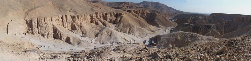 Panorama of the Valley of the Kings. Taken from the hill overlooking KV11, looking north.