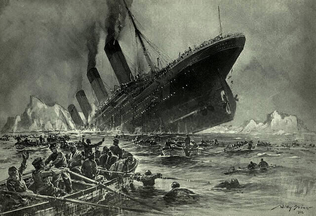 Engraving by Willy Stöwer: Sinking Of The Titanic