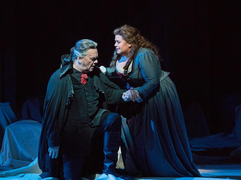 Michael Volle as Holländer and Amber Wagner as Senta in Wagner's Der Fliegende Holländer