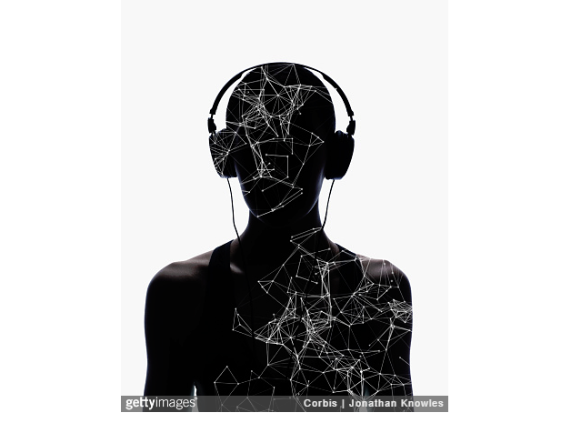 Silhouette of female wearing headphones with layer of digitally generated structure, white background JONATHAN KNOWLES / GETTY ENBEDS - USED BY KIND PERMISSION