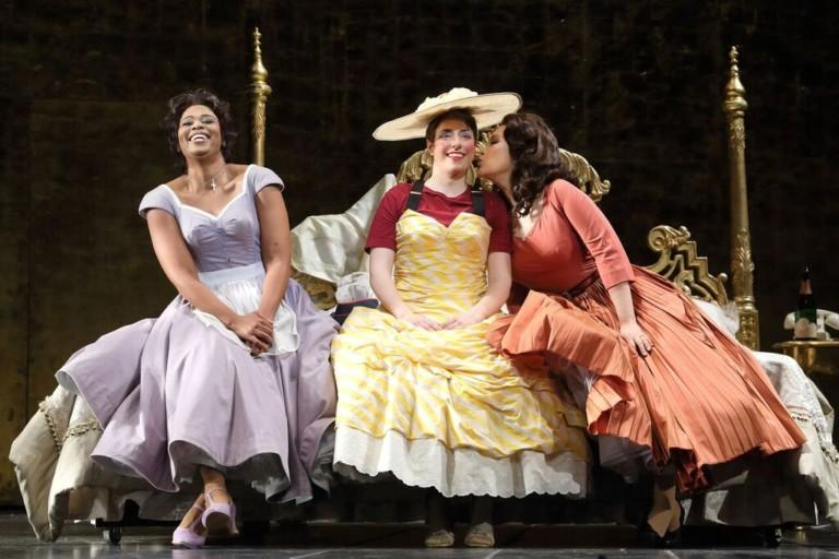 Pretty Yende as Susanna, Renee Sapier as Cherubino and Guanqun Yu as Countess Almaviva