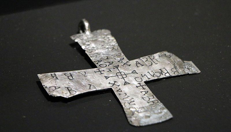 "Talisman cross made of Niello silver. On it magical signs and incantation very close to ""Abracadabra"" 6th-7th century"