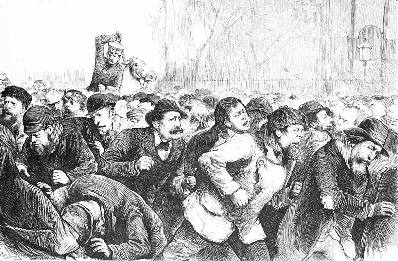 Crowd driven from Tompkins Square by the mounted police, in the Tompkins Square Riot of 1874.