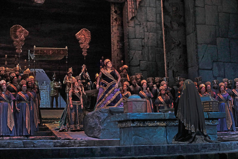 """A scene from Act I of Rossini's """"Semiramide"""" with Angela Meade in the title role."""