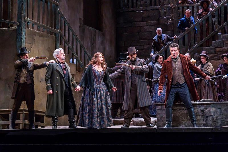 "Plácido Domingo as Miller, Sonya Yoncheva as Luisa, and Piotr Beczała as Rodolfo in Verdi's ""Luisa Miller."""