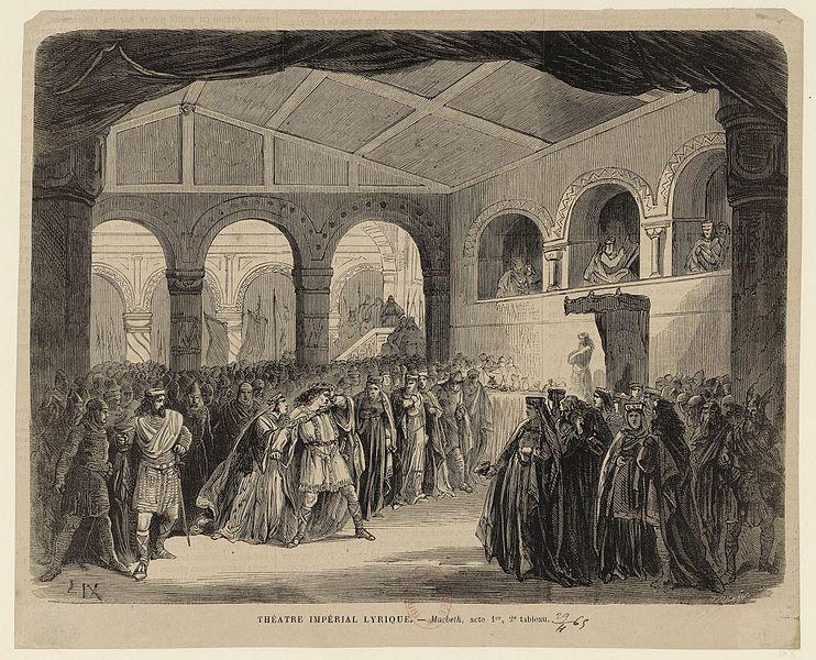 Illustration to Act I, Scene 2 of the première of the 1865 revision of Giuseppe Verdi's Macbeth.